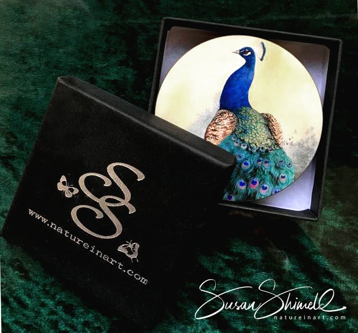 Peacock Coaster with Presentation Gift Box