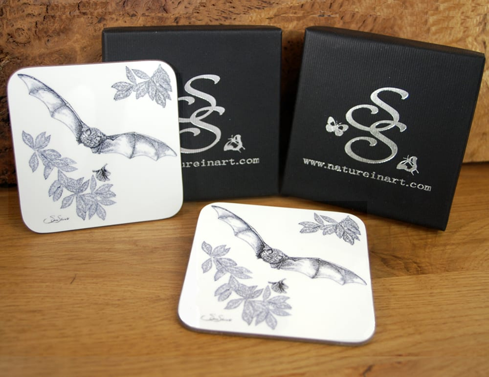 Susan Shimeld's Greater Horseshoe Bat Coasters and Presentation Box