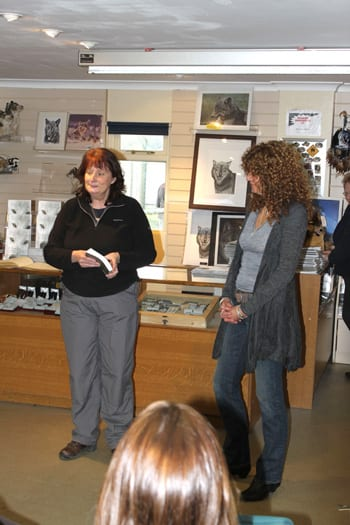 Wolf Book launch. Susan Shimeld with Denise Taylor at  UKWCT