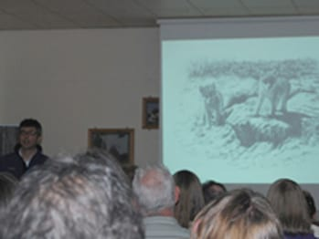 Wolf artwork by Su Shimeld displayed at Wolf symposium promoting  A New Era for Wolves book