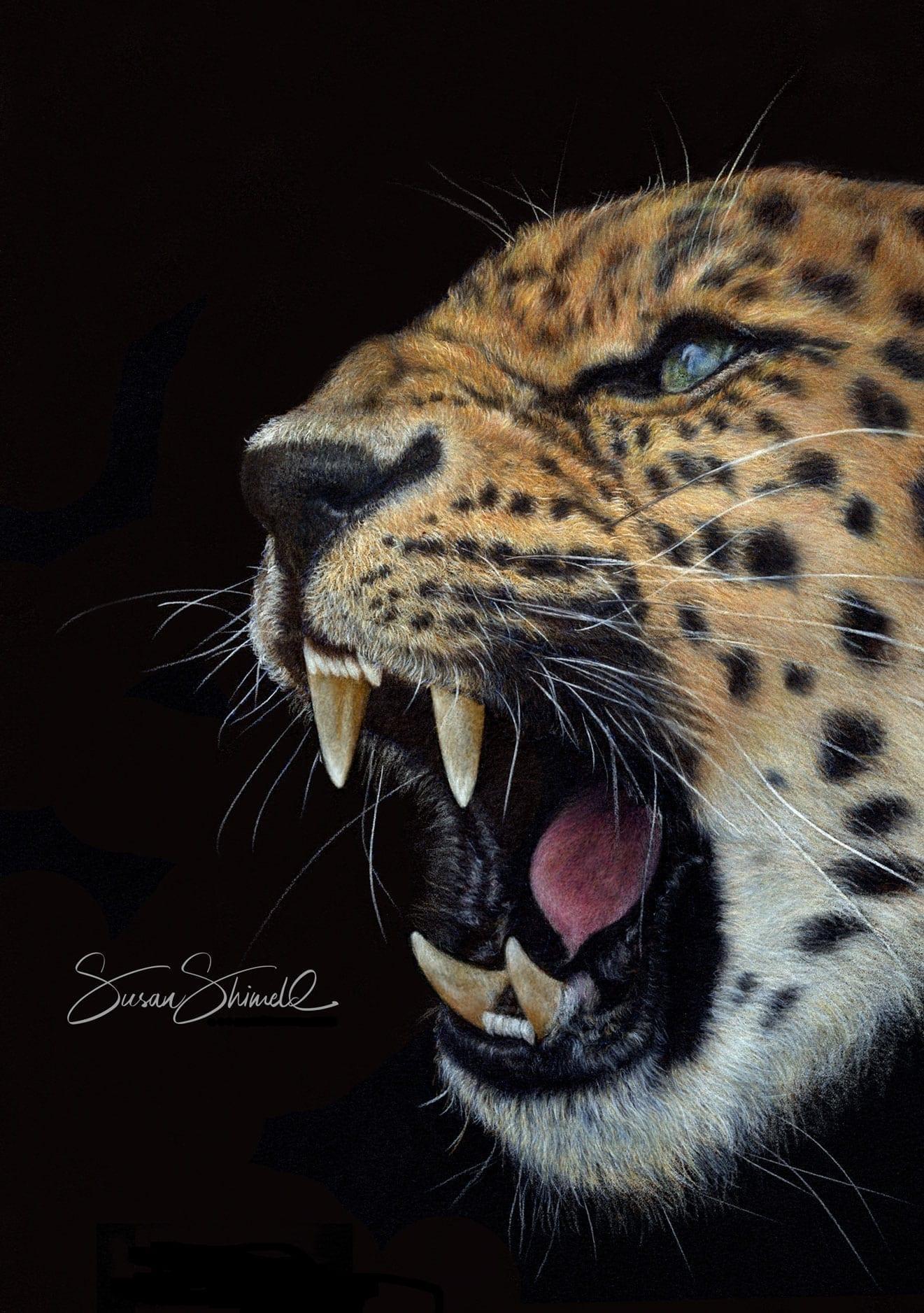 Amur Leopard Pastel Portrait